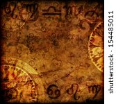magic zodiac vinatage sepia... | Shutterstock . vector #154485011