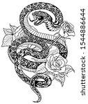 snake coiled round the roses.... | Shutterstock .eps vector #1544886644