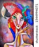 Woman Cubism Face  Girl...