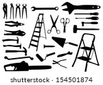 tools silhouettes | Shutterstock .eps vector #154501874