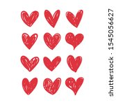 doodle hearts  hand drawn love... | Shutterstock .eps vector #1545056627
