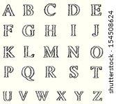 short line alphabet freehand... | Shutterstock .eps vector #154508624