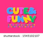 vector colorful cute and funny... | Shutterstock .eps vector #1545102107