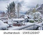 Snow Blankets A Backyard In...