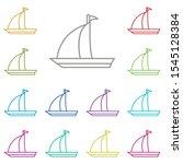 boat  sailboat multi color icon....