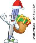 santa with gift blue ballpoint... | Shutterstock .eps vector #1545138524