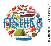 fishing sport icon with circle... | Shutterstock .eps vector #1545140177