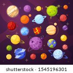 space planets and stars cartoon ... | Shutterstock .eps vector #1545196301