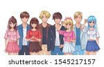 group of young people anime... | Shutterstock .eps vector #1545217157