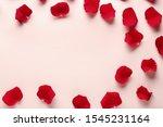Beautiful Rose Petals On Color...