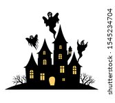 haunted house vector sign with... | Shutterstock .eps vector #1545234704
