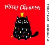 black cat merry christmas fir... | Shutterstock .eps vector #1545234881
