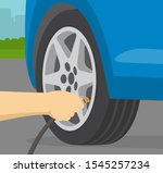 close up view of man inflating... | Shutterstock .eps vector #1545257234