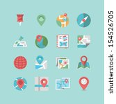 map   navigation icon set | Shutterstock .eps vector #154526705