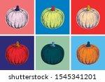 halloween pumpkin hand drawing... | Shutterstock .eps vector #1545341201