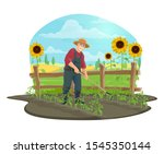 Farmer Hoeing And Weeding Soil...