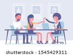 mortgage for a family in a bank.... | Shutterstock .eps vector #1545429311