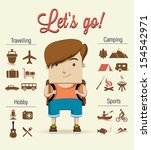 camping boy character. vector... | Shutterstock .eps vector #154542971
