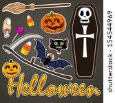 set of cute vector halloween... | Shutterstock .eps vector #154544969