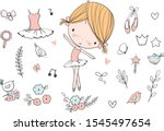 cute ballerina girl. ballet set.   Shutterstock .eps vector #1545497654
