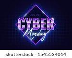 cyber monday banner. retro... | Shutterstock .eps vector #1545534014