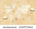 vintage world map in sepia... | Shutterstock .eps vector #1545573461