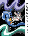 astronaut surfer in outer space ... | Shutterstock .eps vector #1545578324