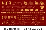 set of gold decorative elements ... | Shutterstock .eps vector #1545613931