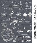 christmas doodle chalkboard... | Shutterstock .eps vector #154569971