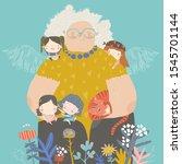 cute cartoon grandmother... | Shutterstock .eps vector #1545701144