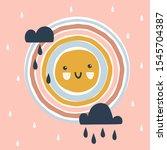 cute happy sun with kawaii face ... | Shutterstock .eps vector #1545704387