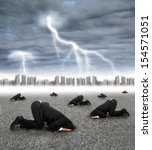 scared businessman hiding on... | Shutterstock . vector #154571051