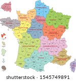 map of france with departments... | Shutterstock .eps vector #1545749891