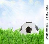 black and white soccer ball in  ...   Shutterstock . vector #154577051