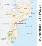mozambique road map | Shutterstock .eps vector #154592117
