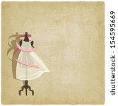 bride dress on old paper... | Shutterstock .eps vector #154595669