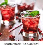 Stock photo cranberry cocktail with mint garnish 154600424