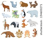 various wildlife animals set on ...