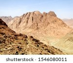 Mount Sinai, known as Mount Horeb or Gabal Musa, a mountain on the Sinai Peninsula in Egypt. Here is a possible location of the biblical Mount Sinai, considered a holy site by the Abrahamic religions.