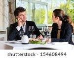 businesspeople having business... | Shutterstock . vector #154608494