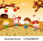 autumn kids | Shutterstock .eps vector #154608839