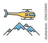 Heli Skiing Color Icon. Winter...