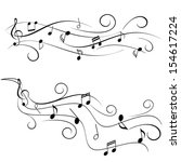 various music notes on swirly... | Shutterstock .eps vector #154617224