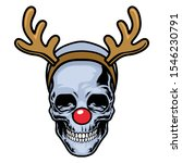 Skull Wearing Red Nose And...
