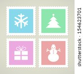 postage stamps with christmas... | Shutterstock .eps vector #154623701
