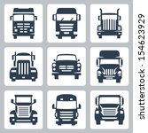 Vector isolated trucks icons set: front view - stock vector