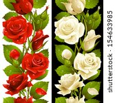 vector red and white rose...   Shutterstock .eps vector #154633985