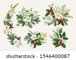 set of christmas bouquets.... | Shutterstock .eps vector #1546400087