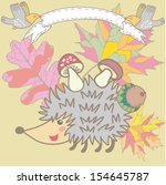 cute cartoon hedgehog and... | Shutterstock .eps vector #154645787