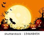 happy halloween. three glowing... | Shutterstock . vector #154648454